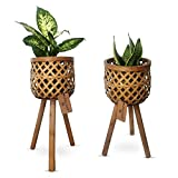 Daytana Bambus Pflanzenständer mit Holz-Beinen im 2er Set |...