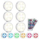 SOLMORE RGB Schrankleuchten LED Nachtlicht mit Fernbedienung 6er,...