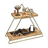 Arbeitsplatte Regal aus Holz und Metall Gold mit 2 Ablagen, Badregal,...