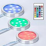 Temgin RGB LED Unterbauleuchte Dimmbar 3er Set Schrankleuchten...