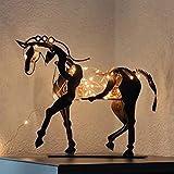 HLONGG Pferd skulptur Metall rustikale stehende Statue Statue led fee...