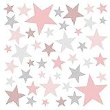 Little Deco Wandaufkleber 60 Sterne Kinderzimmer Mädchen Stars I rosa...