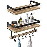 TRIENCY Rustikale Wandregal Holz mit Handtuchhalter aus Holz und 10...