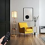 QJUZO LED Stehlampe Holz Schlafzimmer dimmbar Mit fernbedienungund 3...