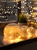LED Glaskugel 3er Set - Exklusive Größe, Warmweiß, inkl. Timer und...