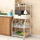 Haushaltsgeräte Küchenregal 4-stufiges Regal mit 2 Drahtkörben und...