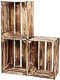 LAUBLUST Vintage Holzkisten 3er Set Geflammt | L - ca. 40 x 30 x 25 cm...