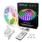 MYPLUS LED Streifen, RGB Led Strips 5M mit IR-Fernbedienung und...