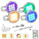MYPLUS 4er Set LED Unterbauleuchte, RGB Deckenleuchten Schrankleuchten...
