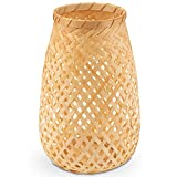 Decorasian Windlicht geflochten aus Bambus, dekorativer Teelichthalter...