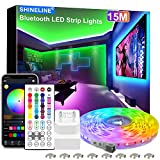 15M LED Strip, SHINELINE 1 Rolle Bluetooth App und Fernbedienung RGB...