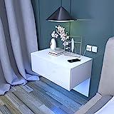 Dripex Nachttisch hängende mit Schublade, Wandregal Wandboard Weiß...