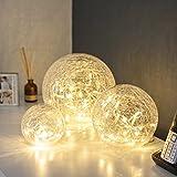 Lights4fun 3er Set LED Glaskugeln warmweiß batteriebetrieben...