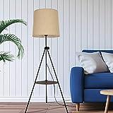 Lampenschirm Beige Stehlampe Modern Dreibein mit Tisch...