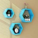 WYYAF 3er Set Wohnzimmerwand Exquisite Regal Rhombus Holz MDF,...