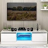 Weiß Hochglanz Lowboard mit LED RGB Beleuchtung, TV-Regal,...