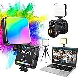 JIGA Tragbar Led Videoleuchte, RGB Dimmbar Kamera Licht mit 3 Cold...