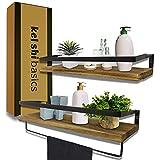 KelShiBasics Schweberegal 2er Set - Wandregal aus Holz und Metall für...