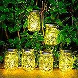 6 Stück Solarlampen für Außen - 30 LED Solar Mason Jar Licht...