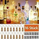 16 Stück Flaschen-Licht JRing 20 LEDs 2M Flaschenlicht Warmweiß...